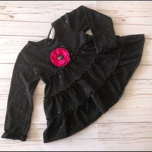 Girls sweater w sequence & pink rose